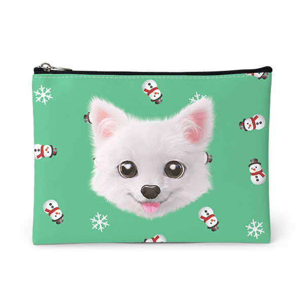 Dubu the Spitz's Snowman Face Leather Pouch
