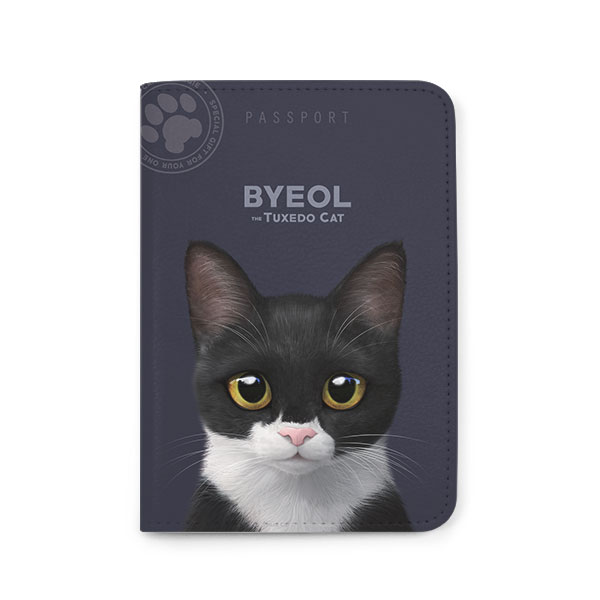 Byeol the Tuxedo Cat Passport Case