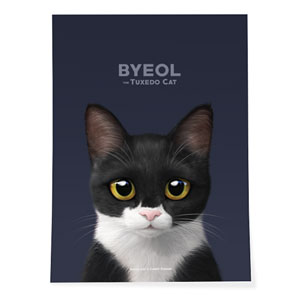 Byeol the Tuxedo Cat Art Poster