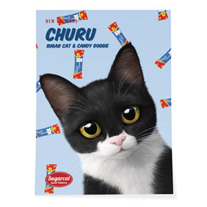 Byeol the Tuxedo Cat's Churu New Patterns Art Poster