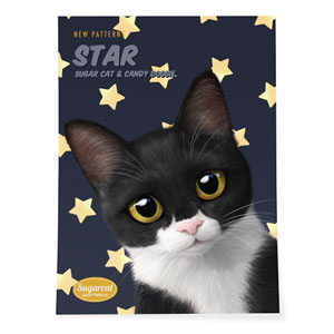 Byeol the Tuxedo Cat's Star New Patterns Art Poster