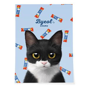 Byeol the Tuxedo Cat's Churu Art Poster