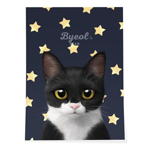 Byeol the Tuxedo Cat's Star Art Poster