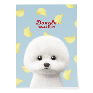 Dongle the Bichon's Potato Chips Art Poster