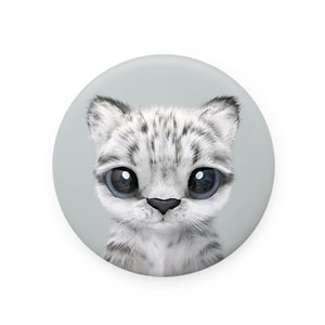 Yungki the Snow Leopard Mirror Button