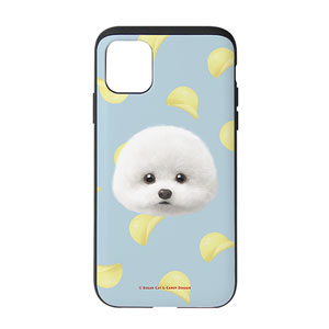 Dongle the Bichon's Potato Chips Face Slide Case