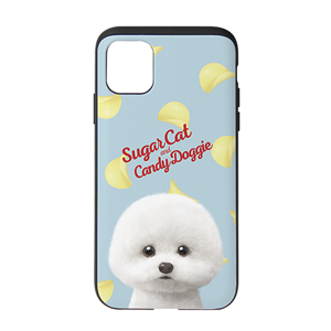 Dongle the Bichon's Potato Chips Script Logo Slide Case