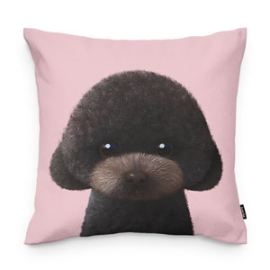 Choco the Black Poodle Throw Pillow