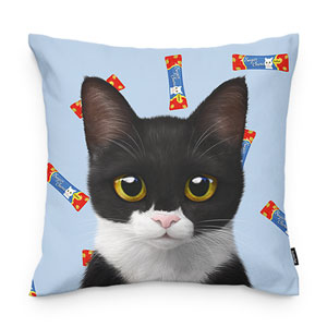 Byeol the Tuxedo Cat's Churu Throw Pillow