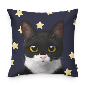 Byeol the Tuxedo Cat's Star Throw Pillow