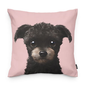 Peach the Schnauzer Throw Pillow