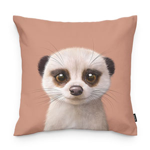 Mia the Meerkat Throw Pillow
