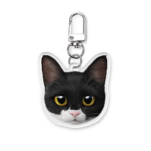 Byeol the Tuxedo Cat Face Acrylic Keyring