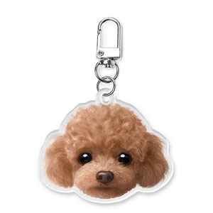 Ruffy the Poodle Face Acrylic Keyring