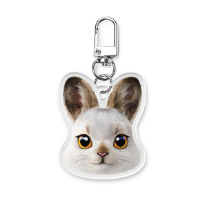 Bunny the Mountain Hare Face Acrylic Keyring