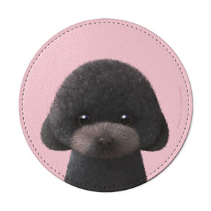Choco the Black Poodle Leather Coaster