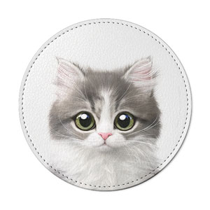 Dan the Kitten Leather Coaster