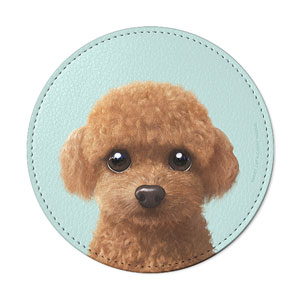 Hodoo the Poodle Leather Coaster