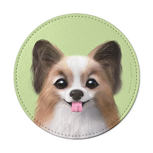 Jerry the Papillon Leather Coaster