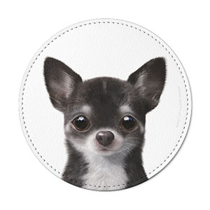 Leon the Chihuahua Leather Coaster