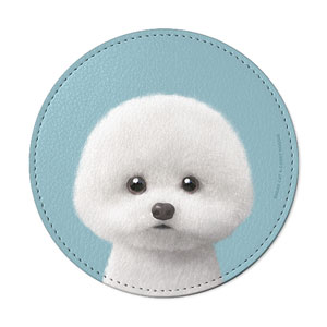 Dongle the Bichon Leather Coaster