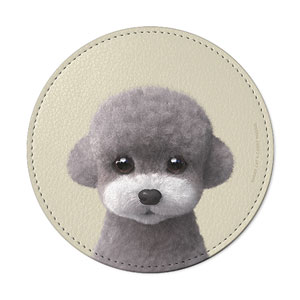 Earlgray the Poodle Leather Coaster