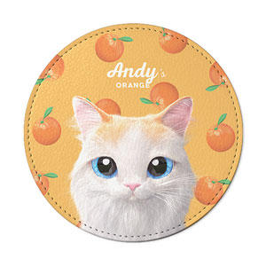 Andy's Orange Leather Coaster