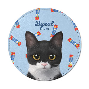 Byeol the Tuxedo Cat's Churu Leather Coaster