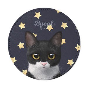 Byeol the Tuxedo Cat's Star Leather Coaster
