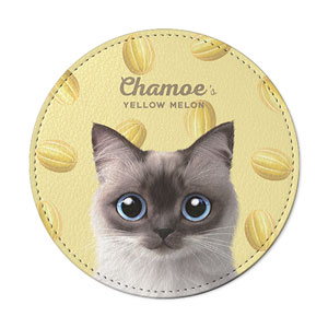 Chamoe's Yellow Melon Leather Coaster