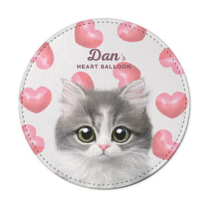 Dan the Kitten's Heart Balloon Leather Coaster