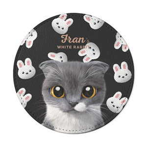 Fran's White Rabbit Leather Coaster