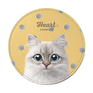 Heart's Pompom Leather Coaster