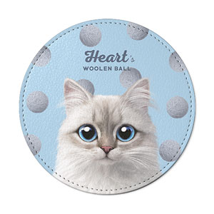Heart's Woolen Ball Leather Coaster