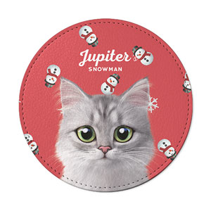Jupiter's Snowman Leather Coaster