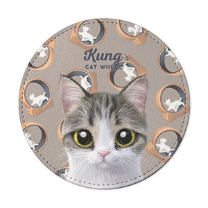 Kung's Cat Wheel Leather Coaster