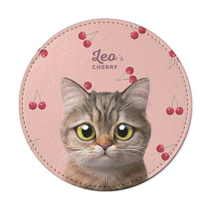 Leo the British Shorthair's Cherry Leather Coaster