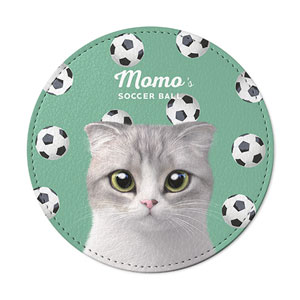 Momo Mumohan's Soccer Ball Leather Coaster