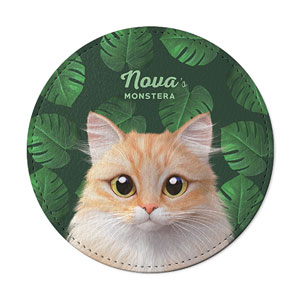 Nova's Monstera Leather Coaster