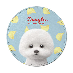 Dongle the Bichon's Potato Chips Leather Coaster