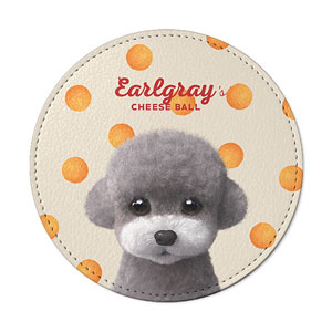 Earlgray the Poodle's Cheese Ball Leather Coaster
