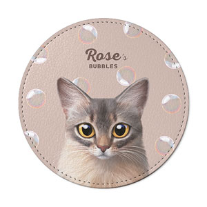 Rose's Bubbles Leather Coaster