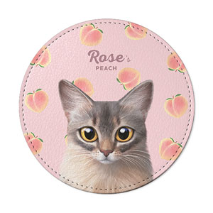 Rose's Peach Leather Coaster