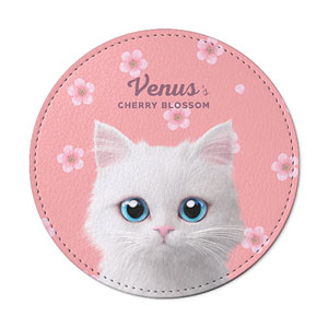 Venus's Cherry Blossom Leather Coaster