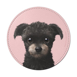 Peach the Schnauzer Leather Coaster