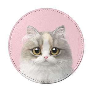 Salgu the Selkirk Rex Leather Coaster