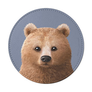 Brownie the Bear Leather Coaster