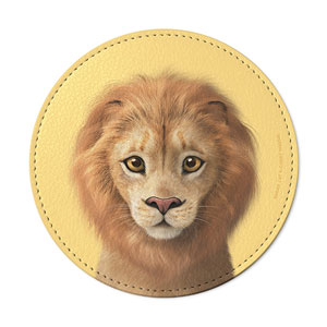 Lager the Lion Leather Coaster