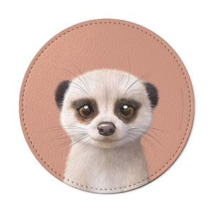 Mia the Meerkat Leather Coaster