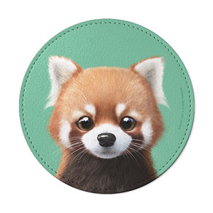Radi the Lesser Panda Leather Coaster